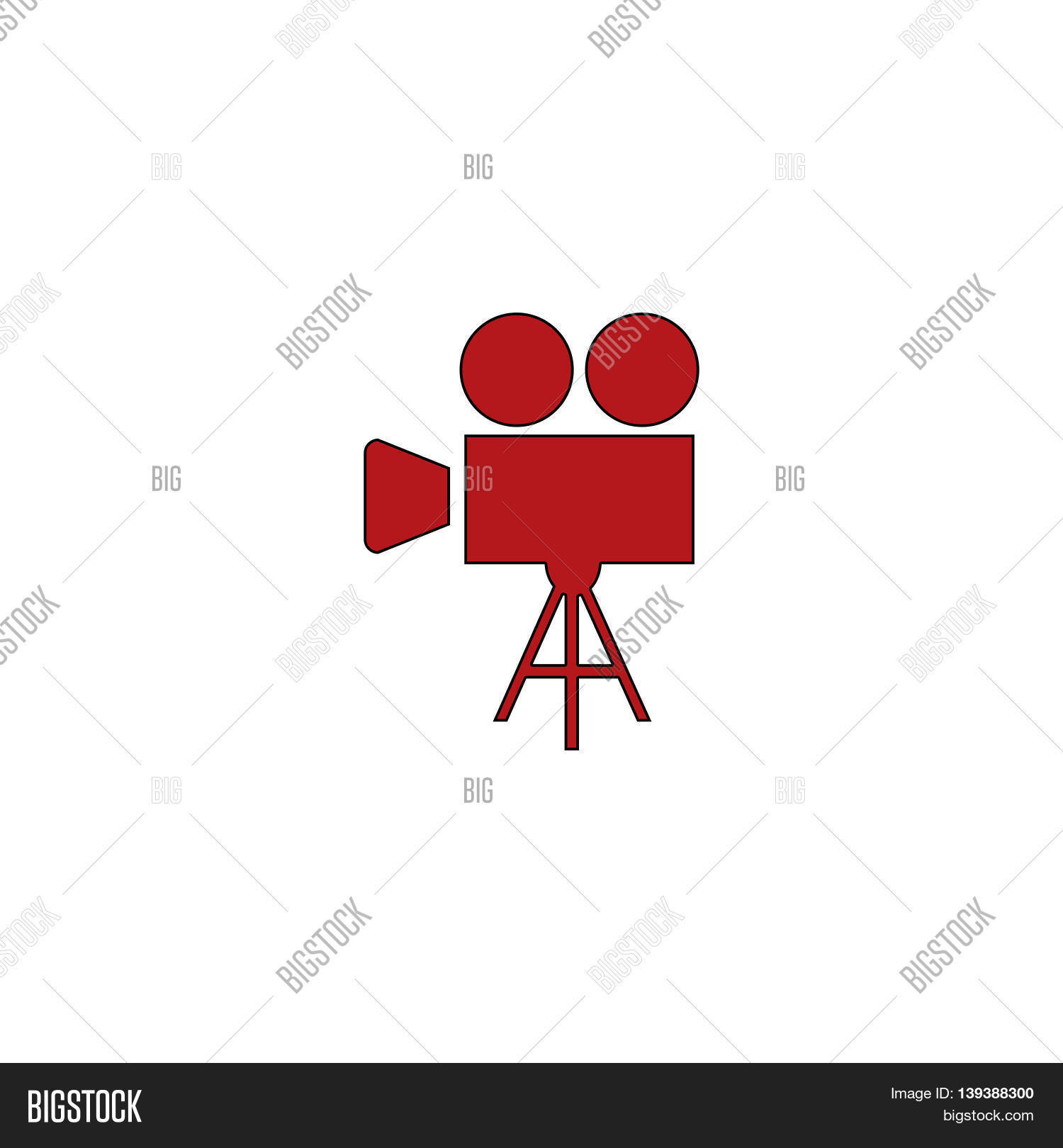 hight resolution of video film camera red flat simple modern illustration icon with stroke collection concept vector