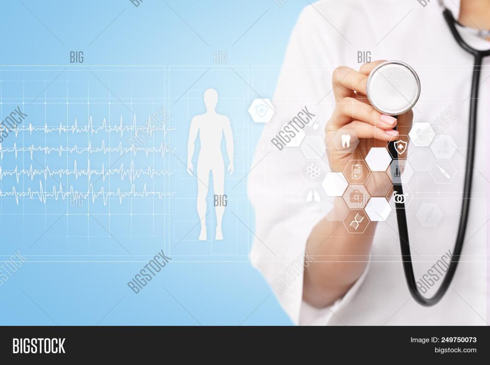 medium resolution of doctor using modern computer with medical record diagram on virtual screen concept health monitorin