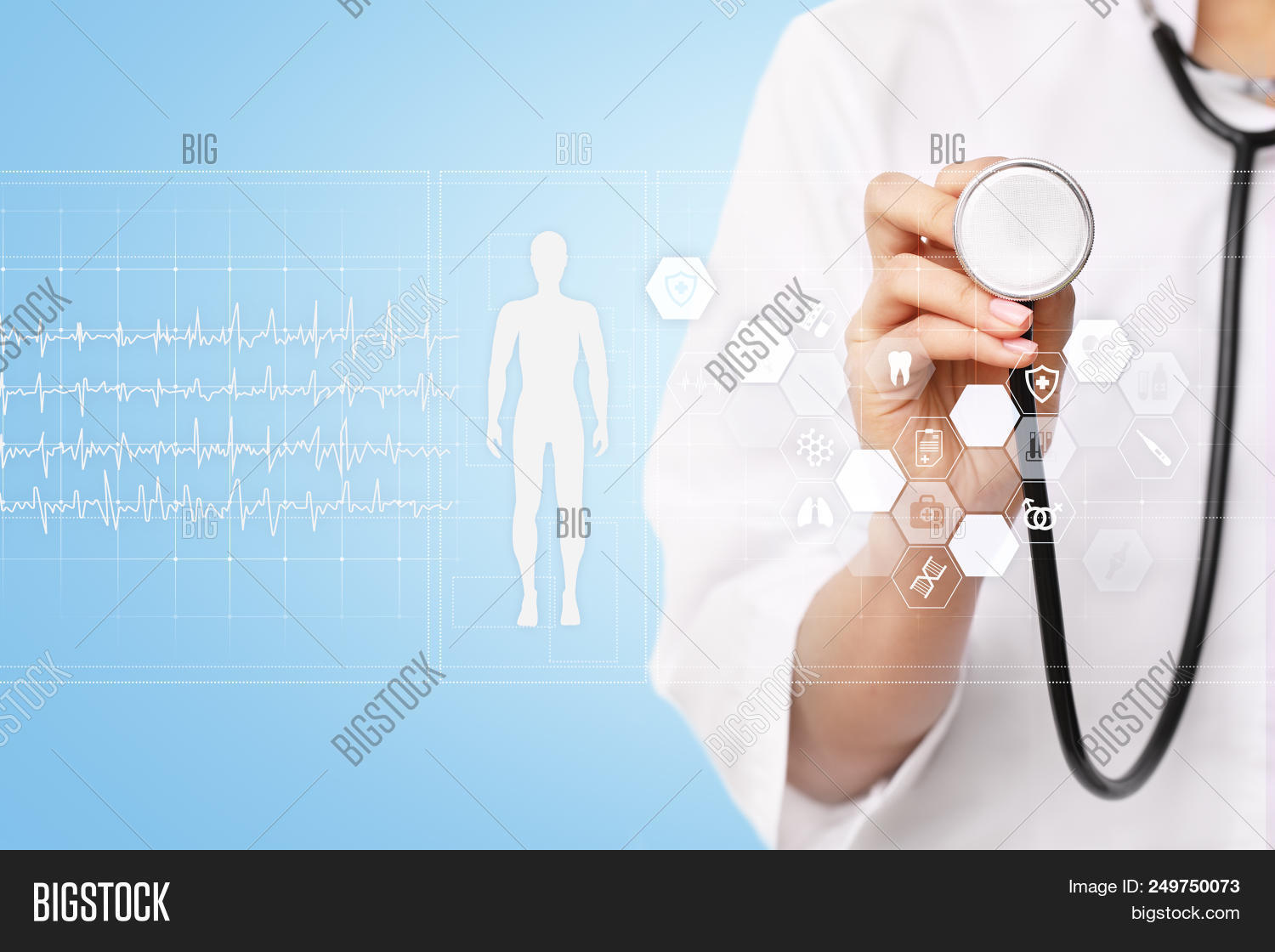 hight resolution of doctor using modern computer with medical record diagram on virtual screen concept health monitorin