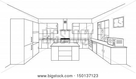 Sketch modern kitchen plan with island. Single point