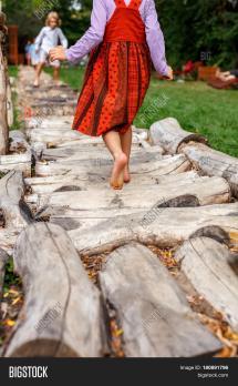 Dress Little Girl Walking Barefoot