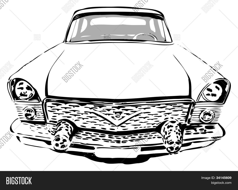 Retro car, front view, vector illustration Stock Vector