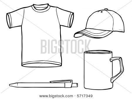 Outline Template Shirt, Cap, Mug, A Pen Stock Photo