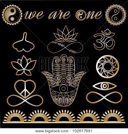 yoga tattoo set gold