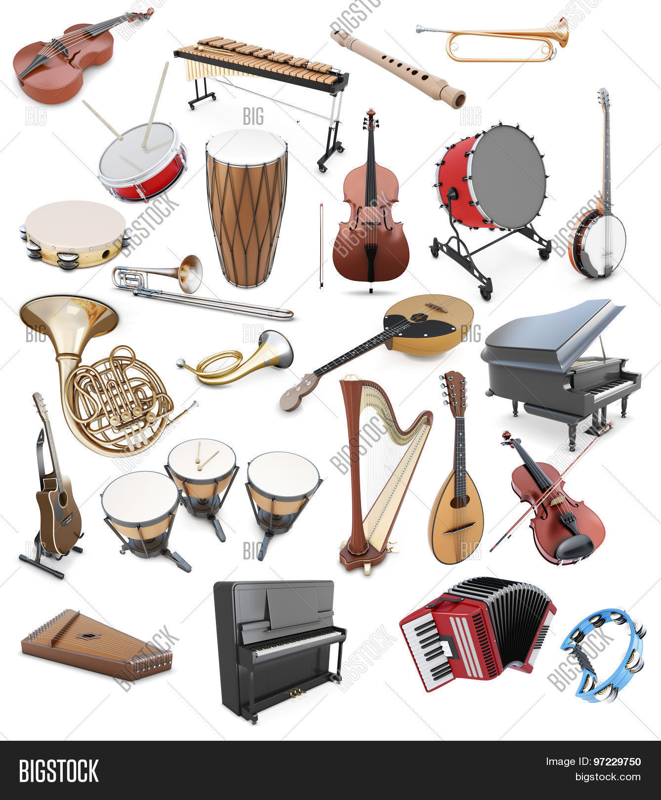 Set Musical Instruments On White Image Amp Photo