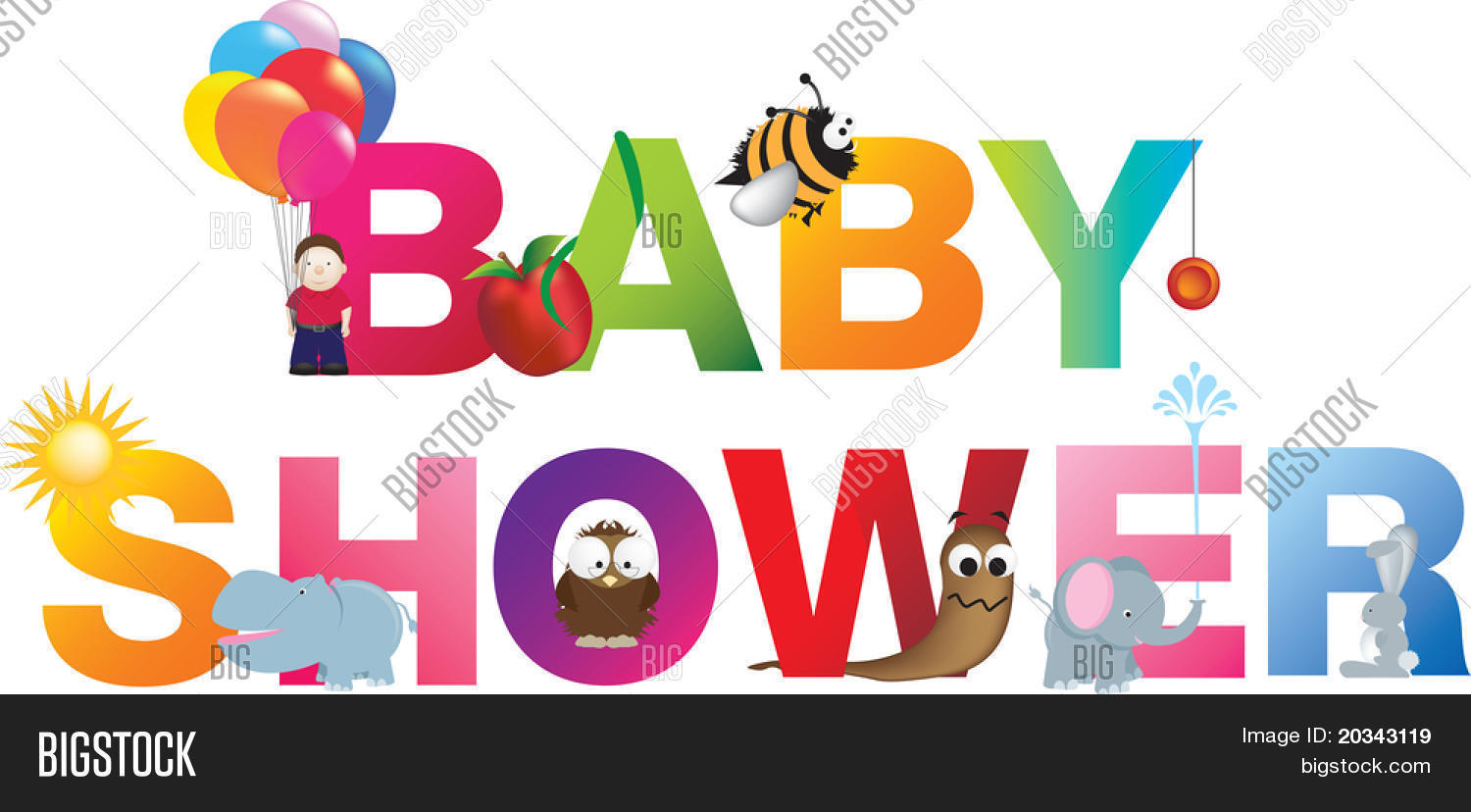 The words baby shower made up from alphabet cartoon letters with matching animals and objects Stock Photo & Stock Images | Bigstock