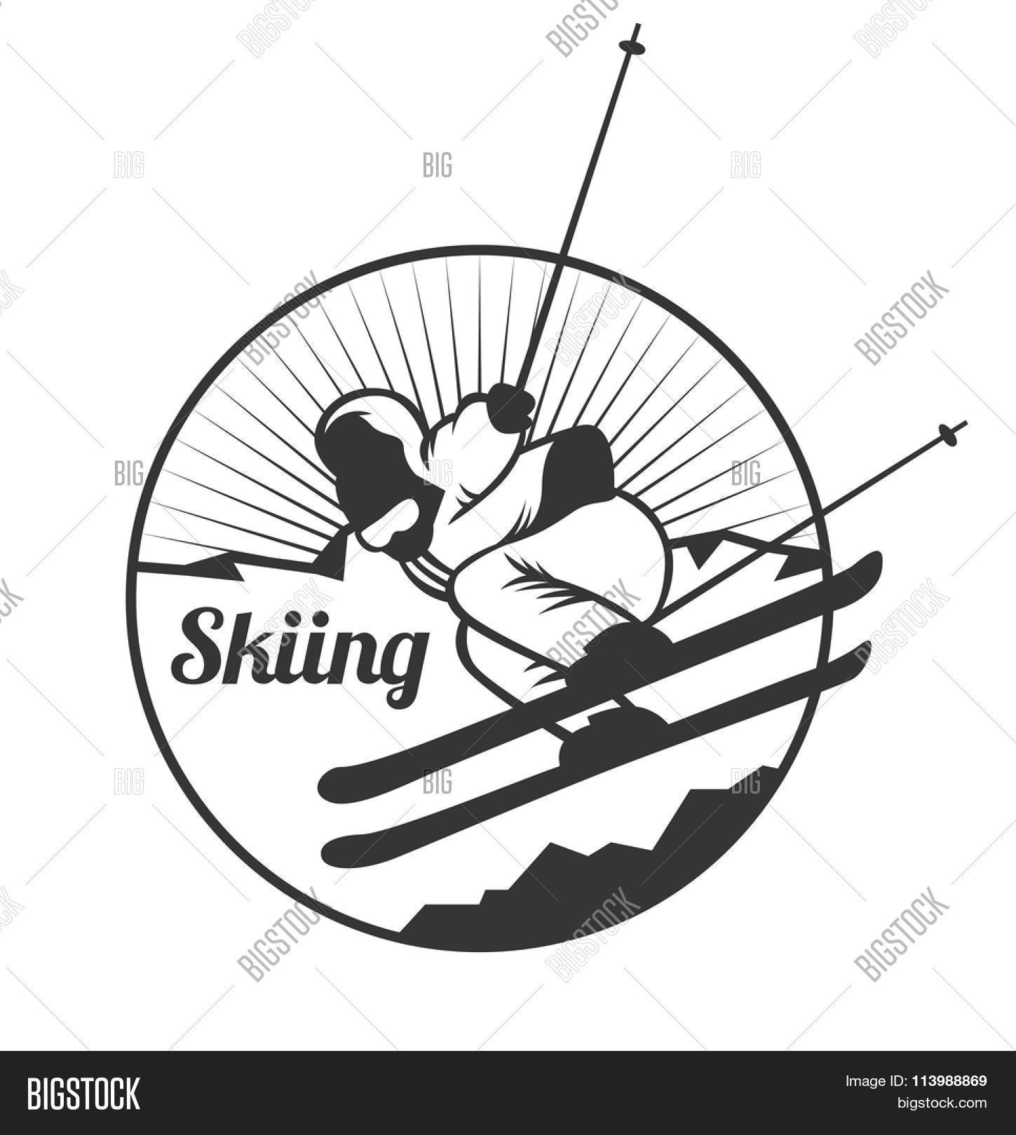 Ski Resort Logo Emblems Labels Badges Vector Elements