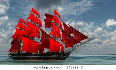 Ship Red Sails Image & Photo   Bigstock