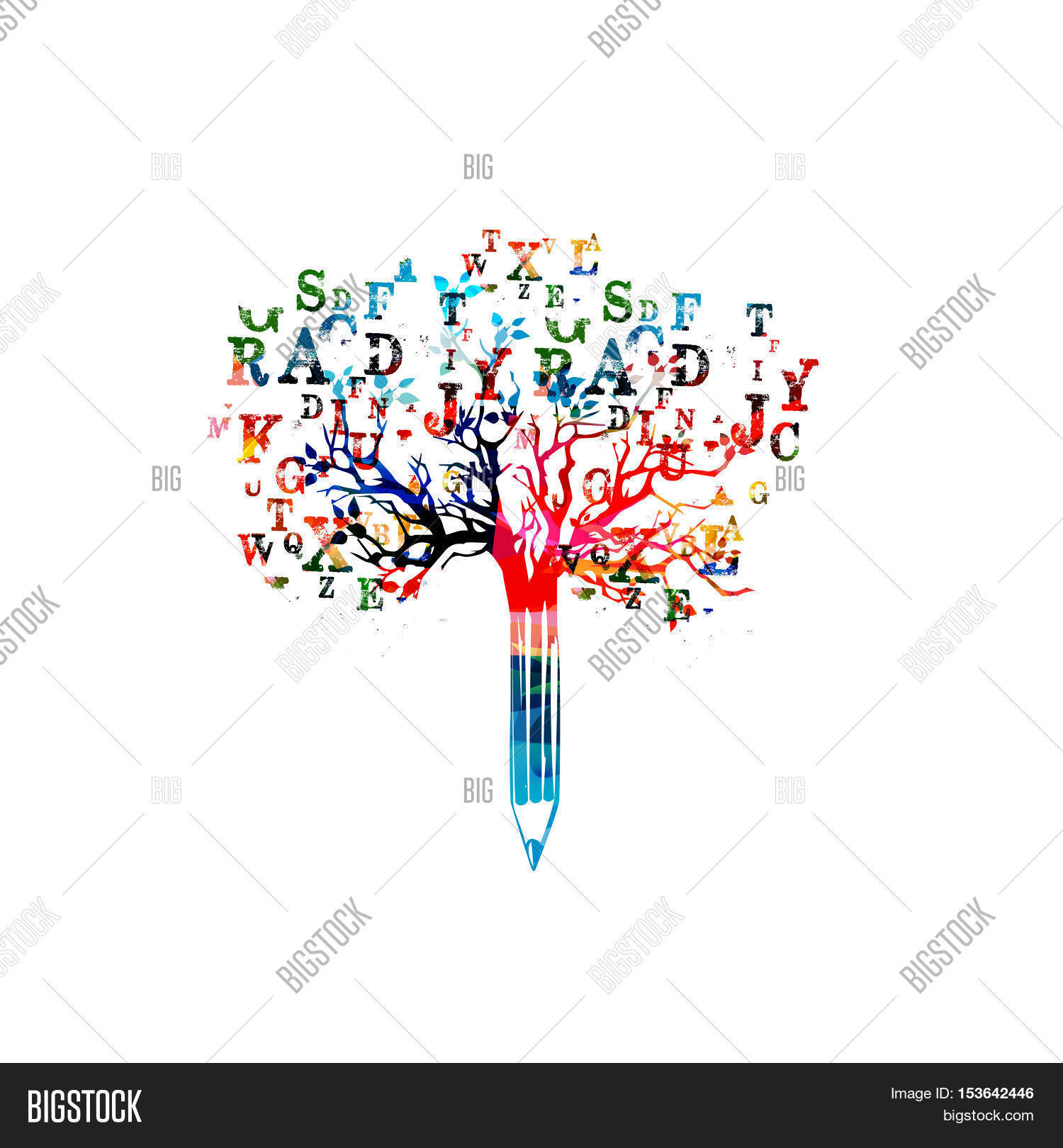 Colorful Pencil Tree Vector Image Amp Photo