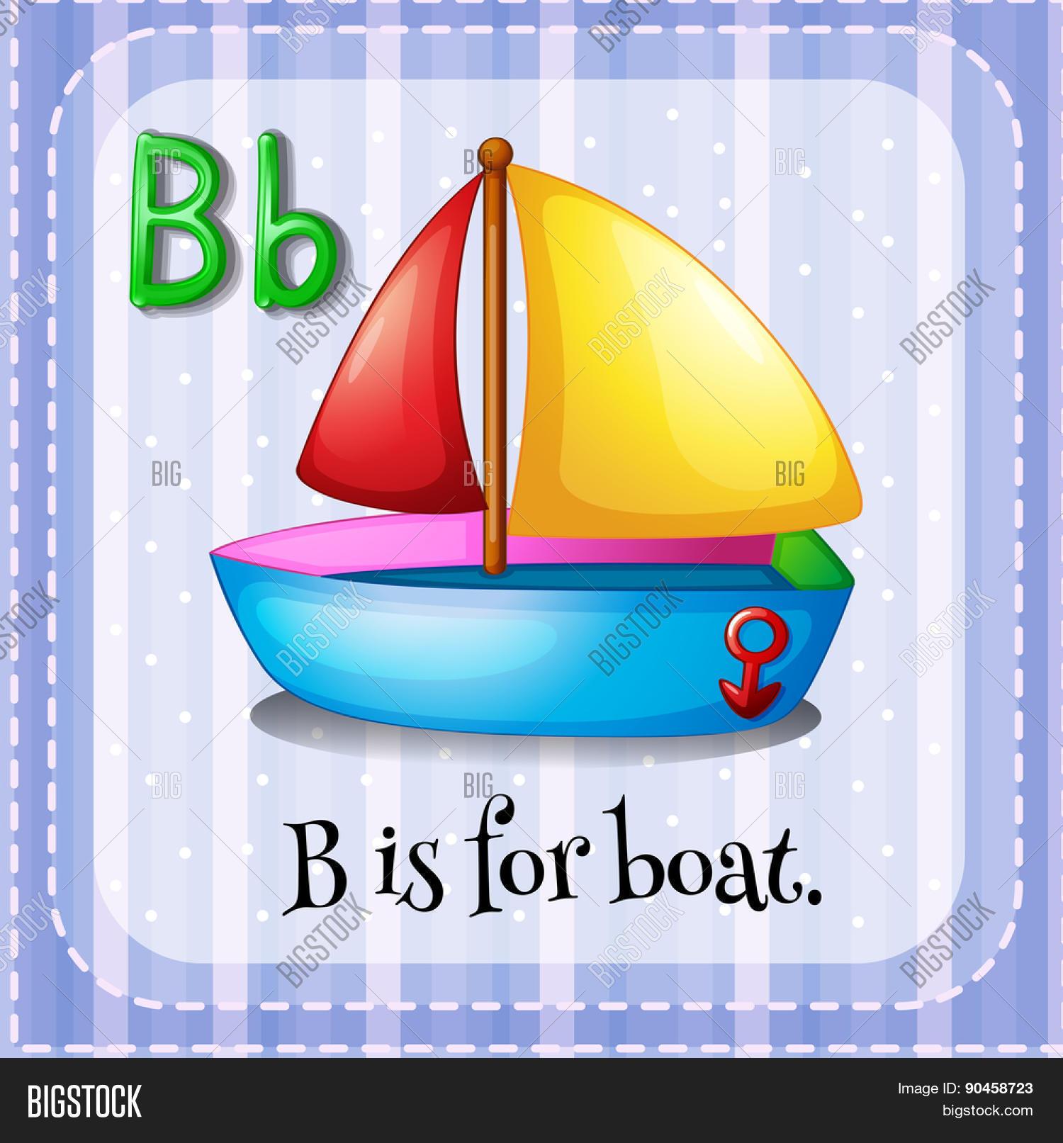English Flashcard Letter B Boat Vector Amp Photo