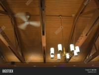 Vaulted Ceiling Fan And Light Fixture Stock Photo & Stock ...