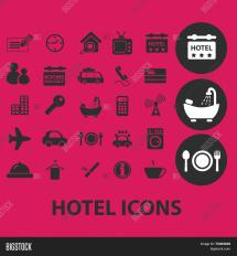 Hotel Motel Black Isolated Icons Vector & Bigstock