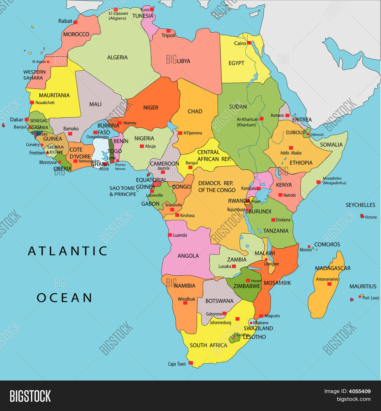 Political Map Africa Vector Amp Photo
