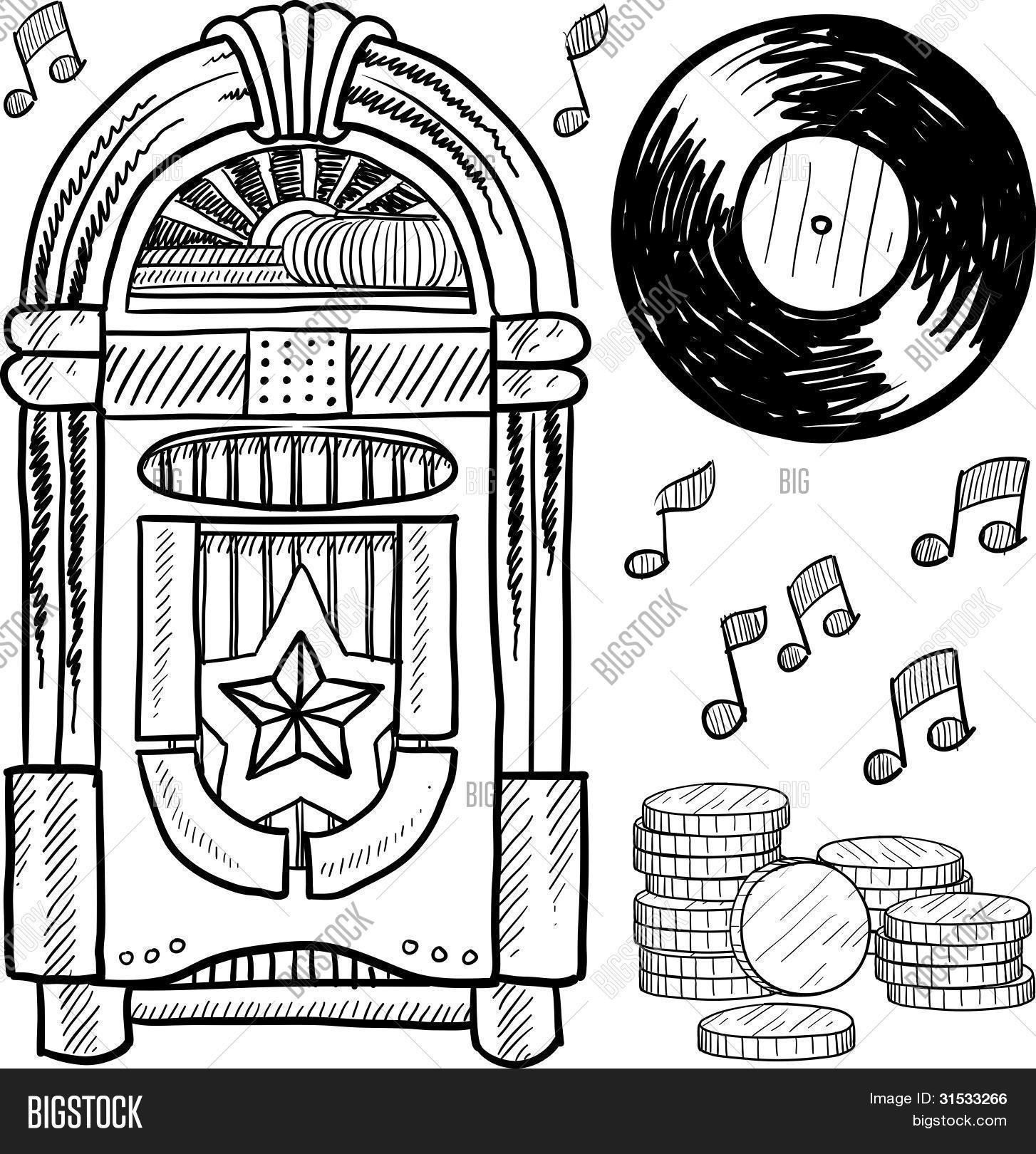 Vintage Jukebox Sketch Vector Amp Photo