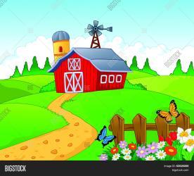 farm cartoon background vector illustration
