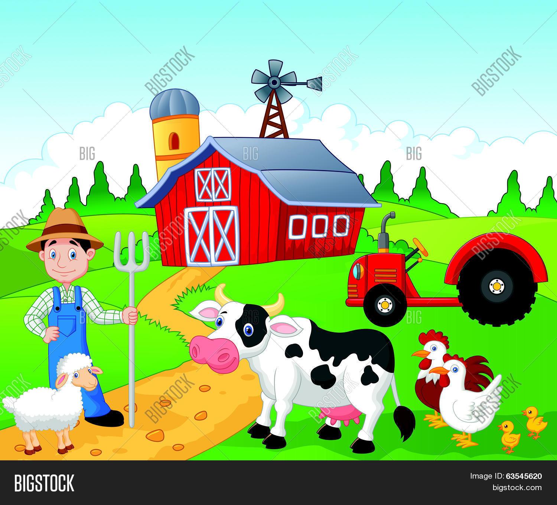 Farmer Cartoon Working Farm Vector Amp Photo
