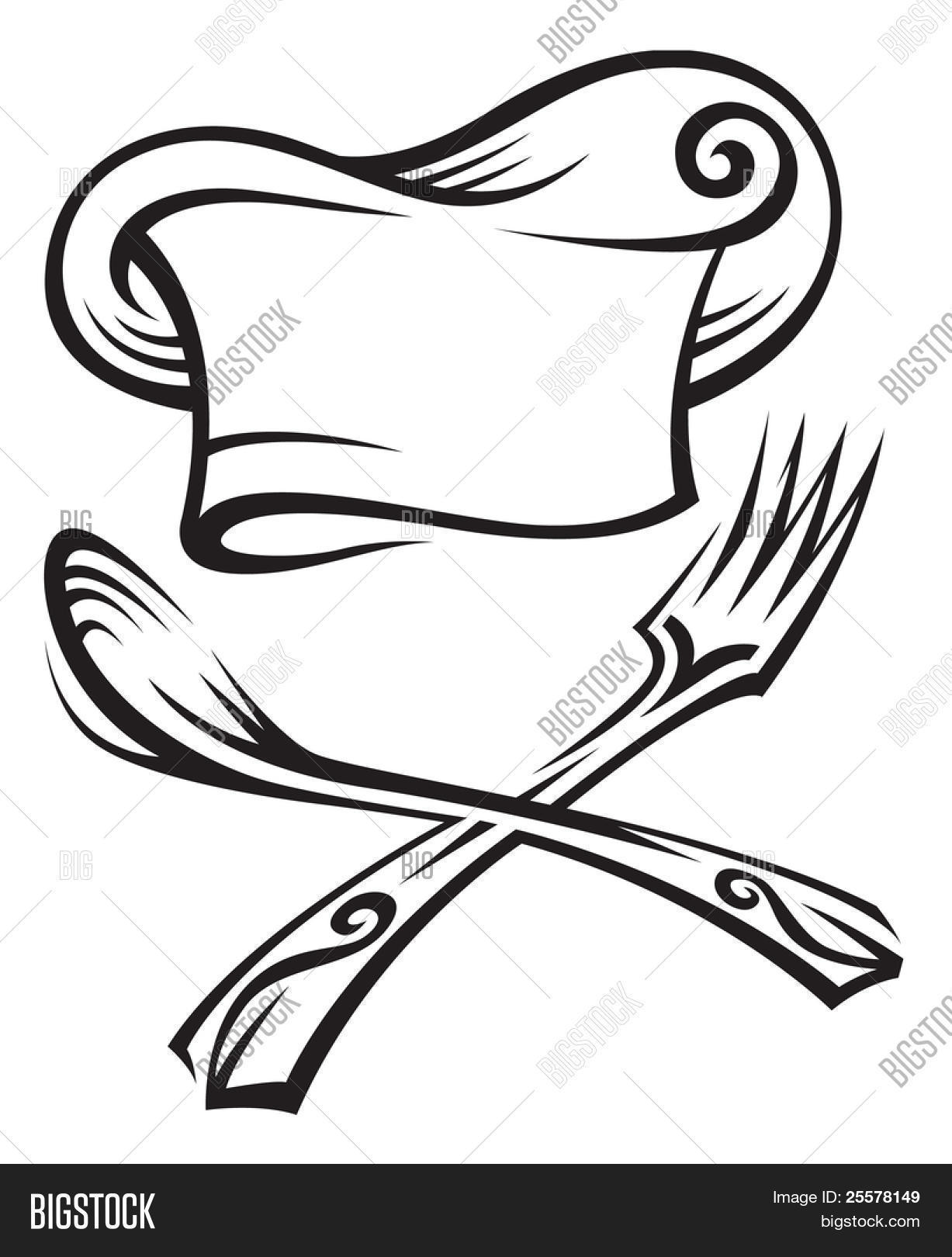 Chef Hat With Spoon And Fork Stock Vector Amp Stock Photos