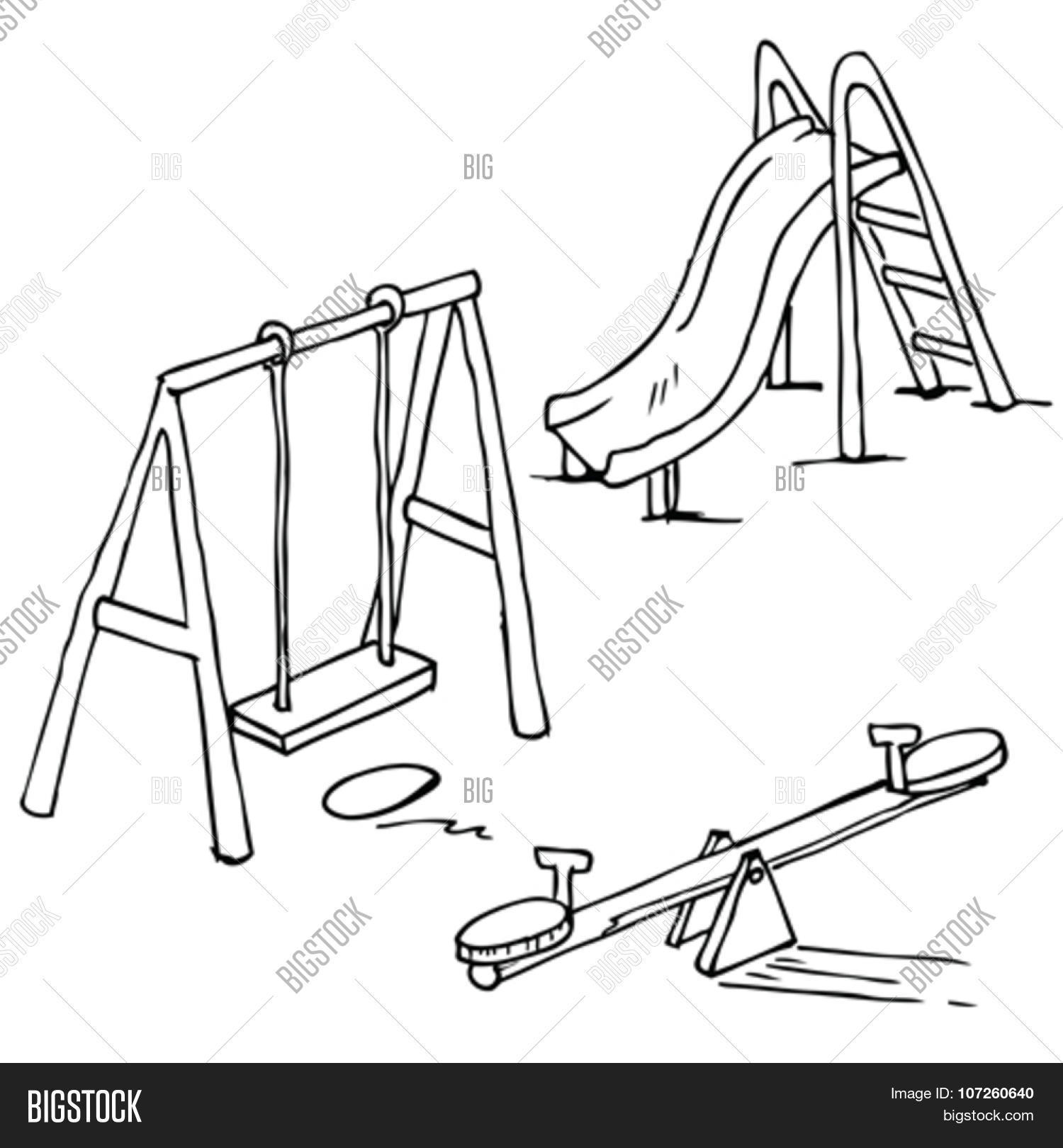 Simple Black And White Isolated Playground Objects Cartoon