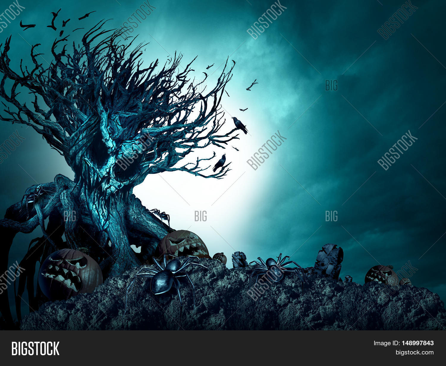 Fall Graveyard Cemetery Wallpaper Halloween Creepy Background Haunted Image Amp Photo Bigstock