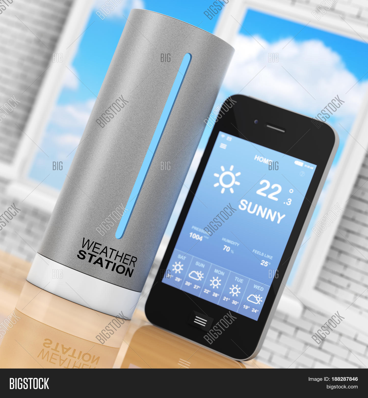 Modern Digital Wireless Home Weather Station With Mobile Phone With Weather On Screen In Front