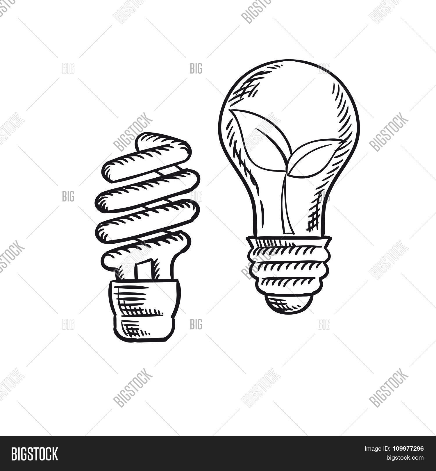 Sketch Save Energy Old Light Bulb Vector Amp Photo