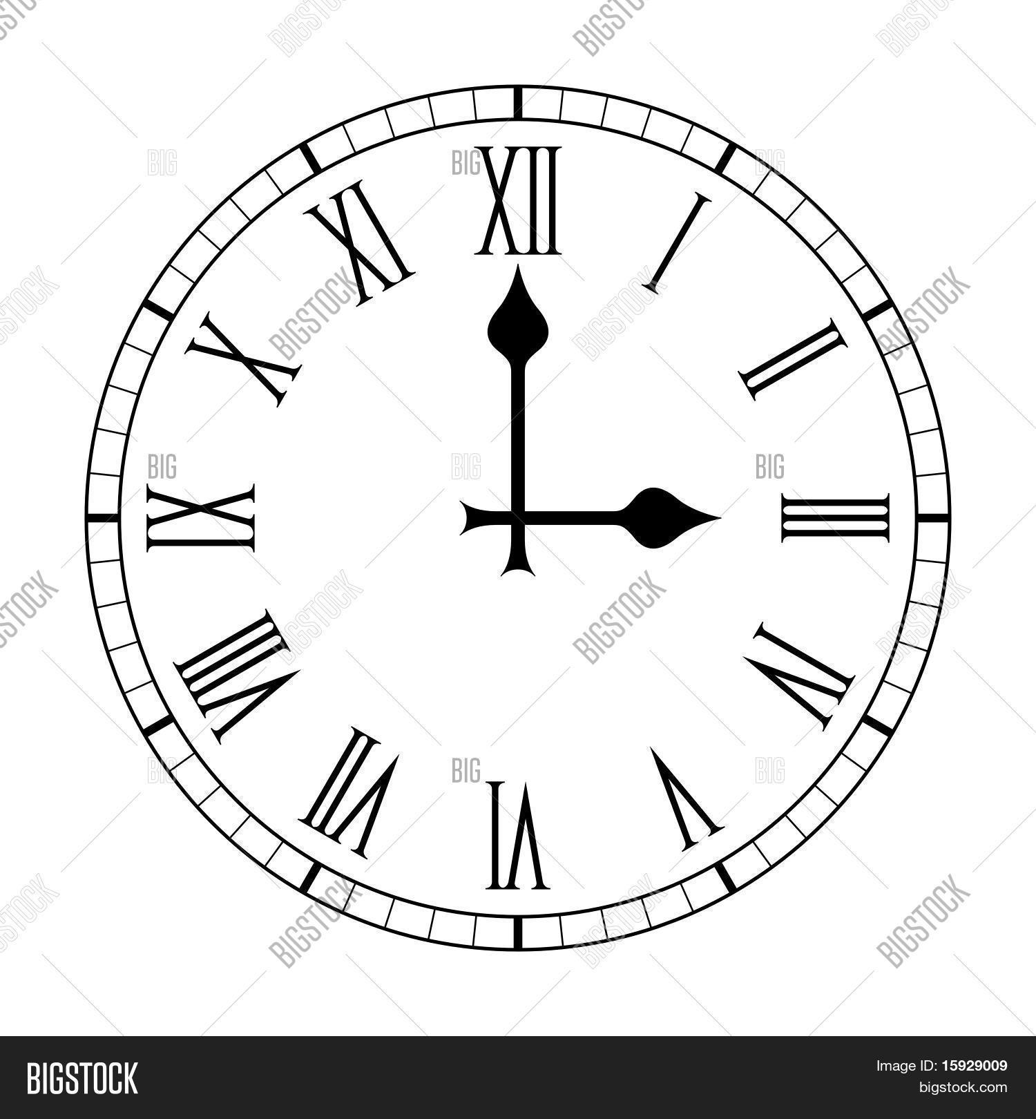 Plain Roman Numeral Clock Face Vector Amp Photo