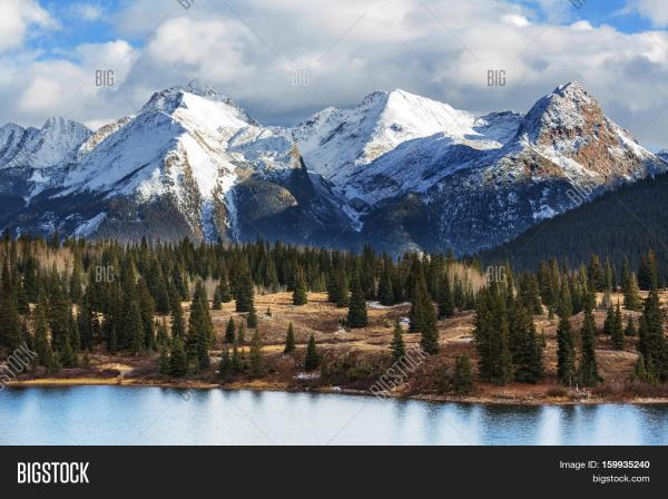 Mountain Landscape In Colorado Rocky Mountains United States. Stock &