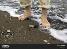 Man Walking Sea Shore Stock & Bigstock