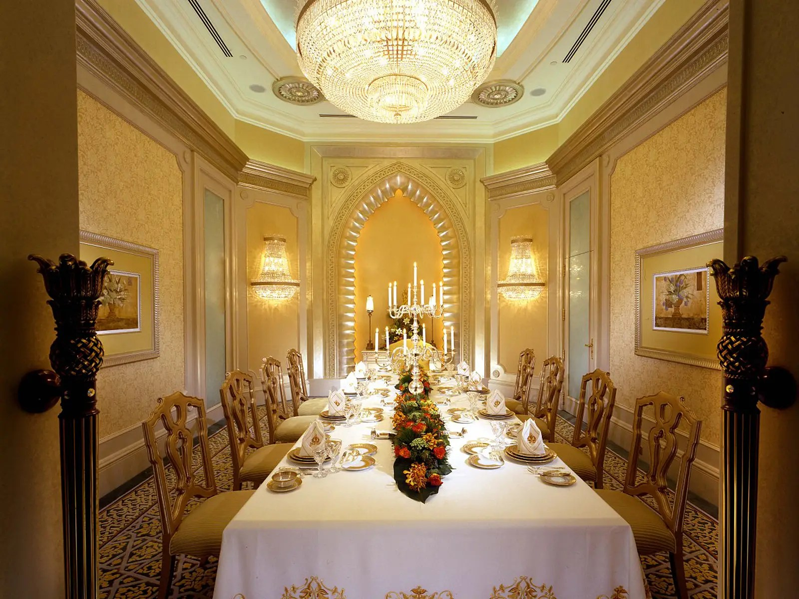 Or why not have your meal catered by award winning chefs in your personal dining room, complete with servers, seating for eight, and a luxe chandelier?