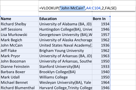 "Right now we're looking to find out what John McCain's education was from a list of 100 Senators. So, we type in ""John McCain"" into the first term."