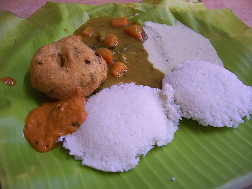 INDIA: Idli wada is a traditional breakfast in the southern part of the country. Idli is a cake made with fermented black lentils and rice, and served with chutney and sambar.