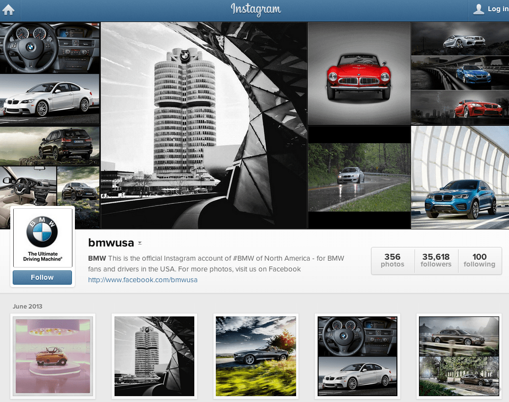 BMW has a very aesthetically pleasing Instagram.