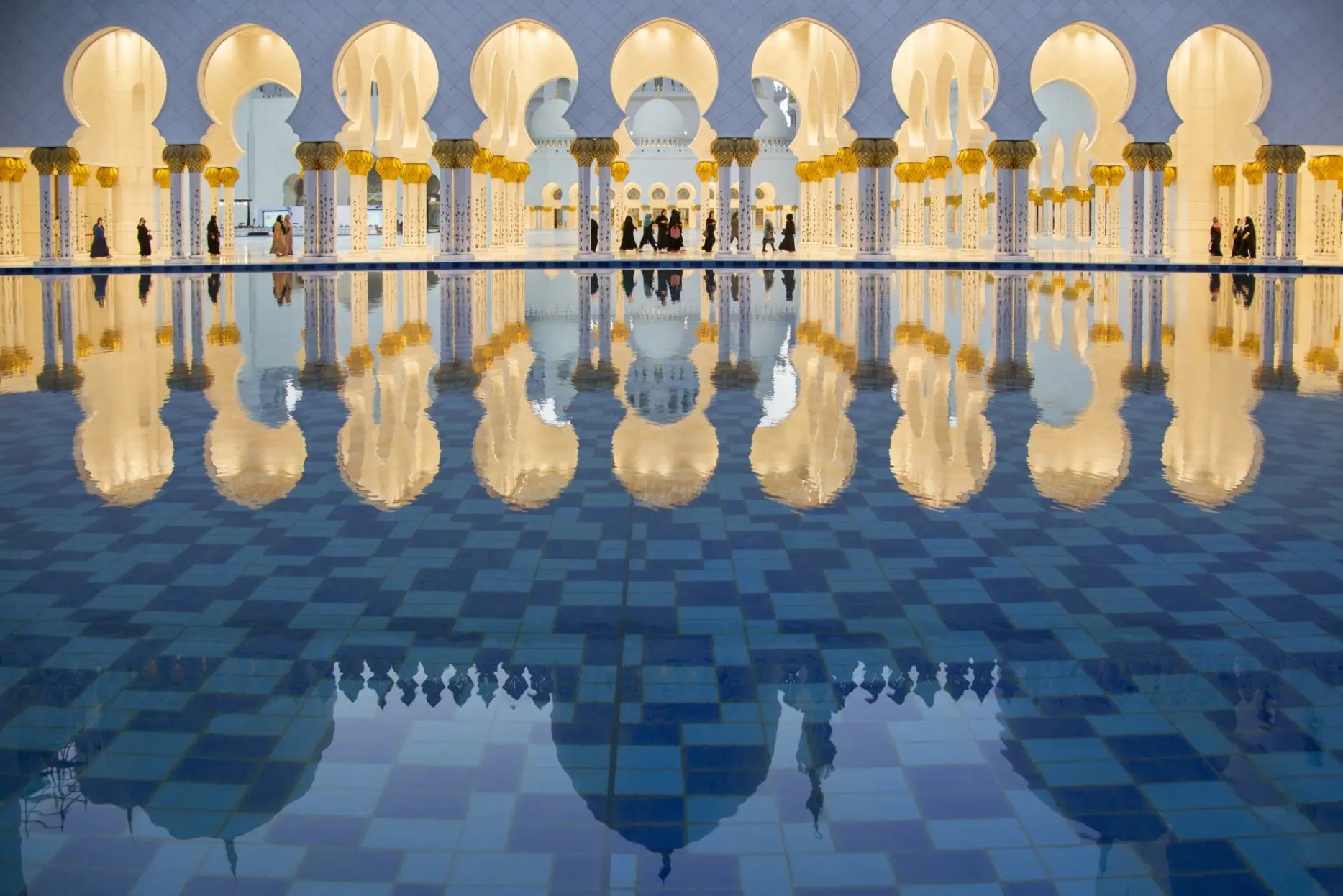 A reflection in the Sheikh Zayed Mosque in Abu Dhabi