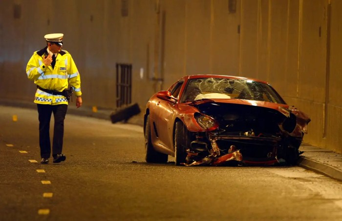 In 2009 he crashed his $320,000 Ferrari in Manchester.