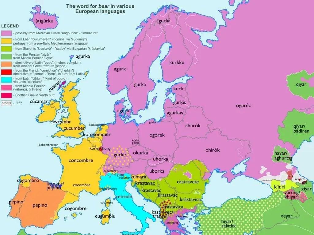 European Maps Showing Origins Of Common Words