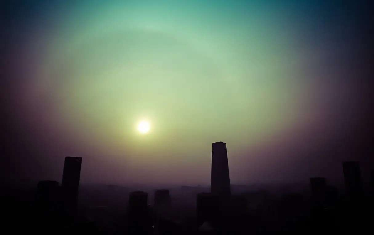 """A beautiful (?) smogbow in China."""