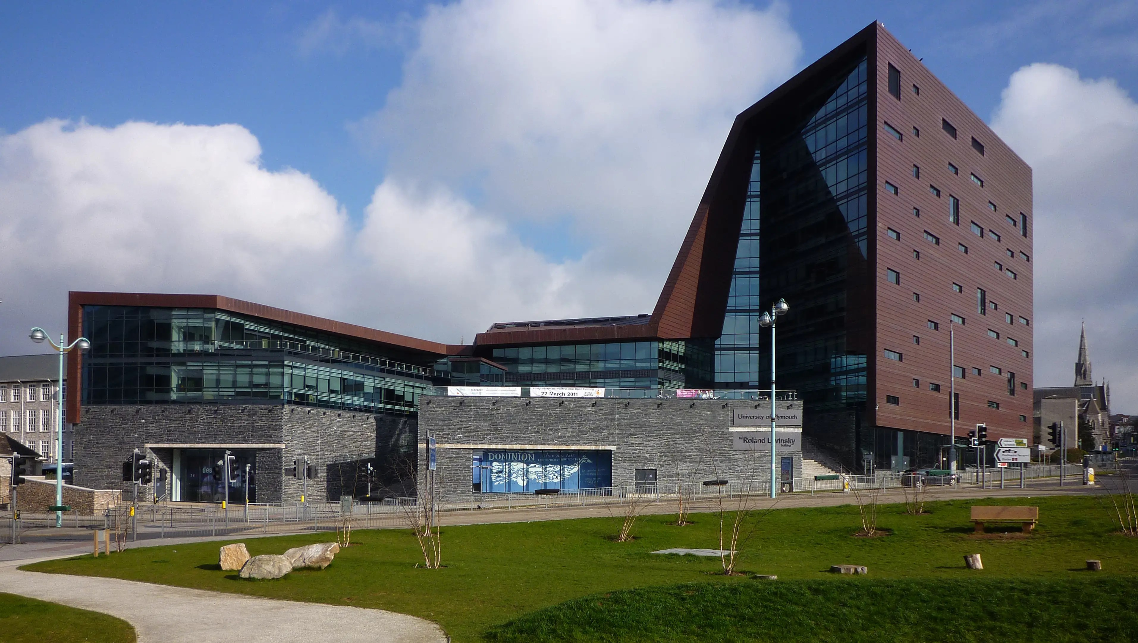 The Roland Levinsky Building at the University of Plymouth in southwestern England includes 25 classrooms, two auditoriums, a cinema and a cafe and balcony area. It was completed in 2007.