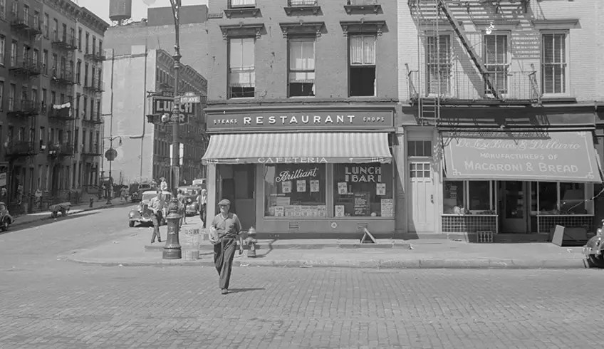 1938: A man crosses First Avenue on the Upper East Side during the Great Depression.