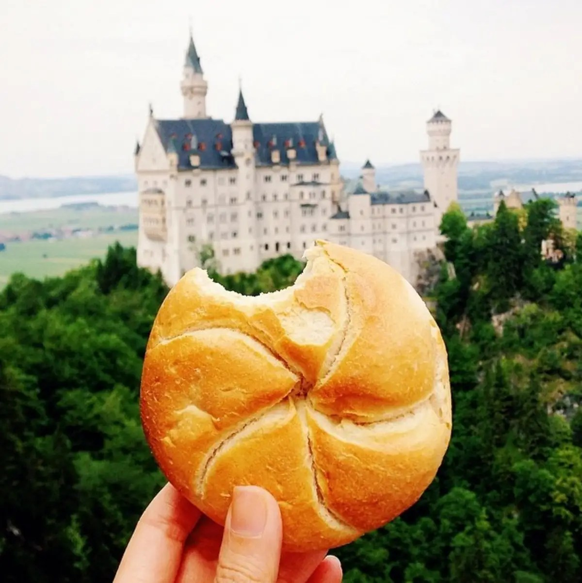 Simple bread roll at Neuschwanstein castle (aka the real life Cinderella castle) in Germany.