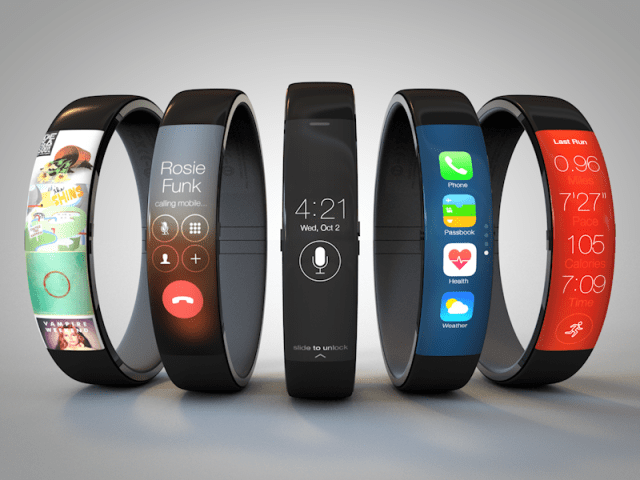 If the iWatch is modeled after the Samsung Gear Fit, it could look like this with rounded glass.