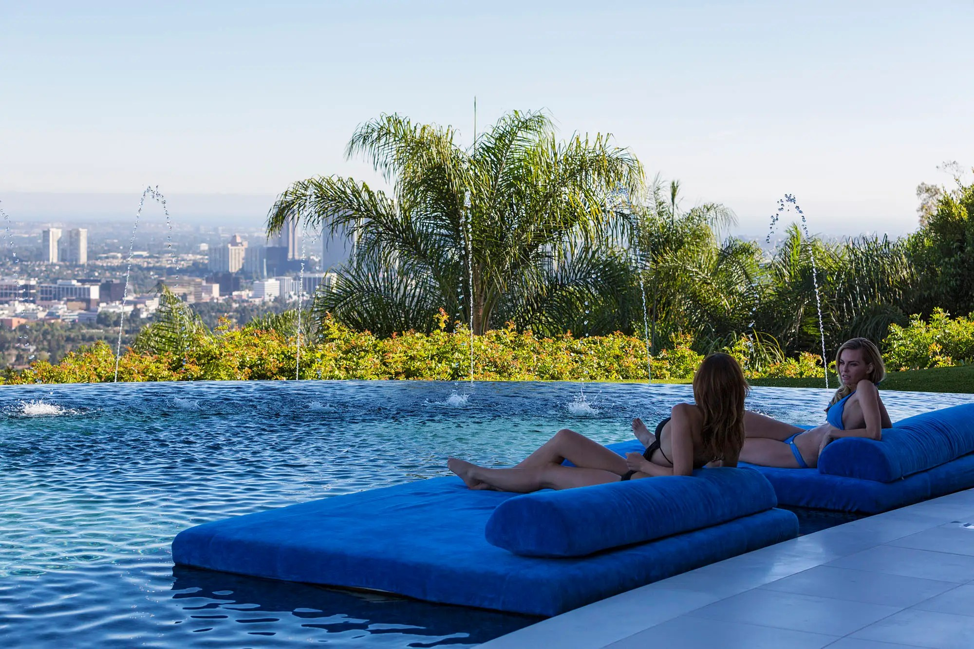 It comes with lounge beds in the pool for guests to tan and relax on.