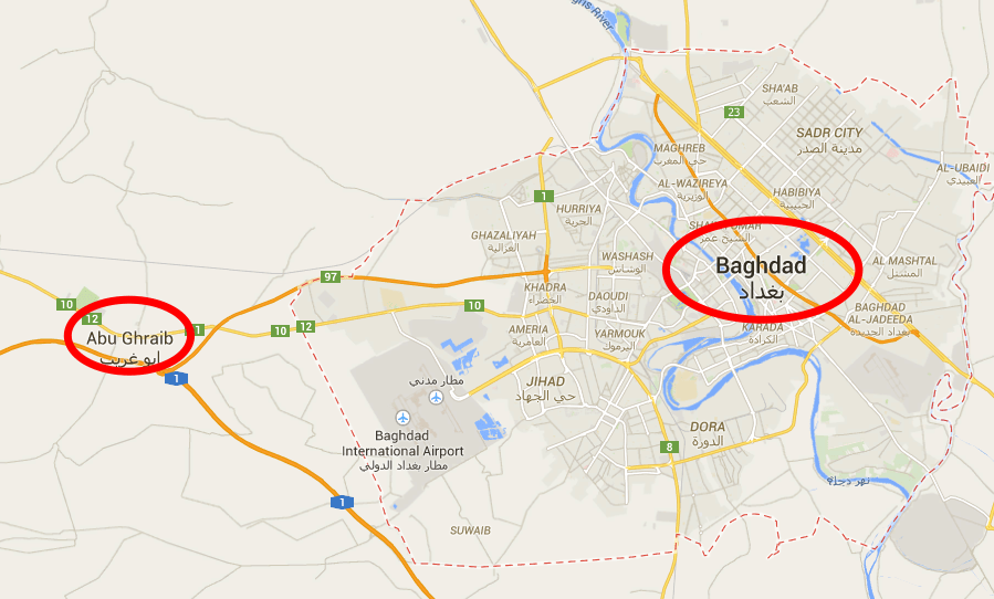 map of baghdad and abu ghraib