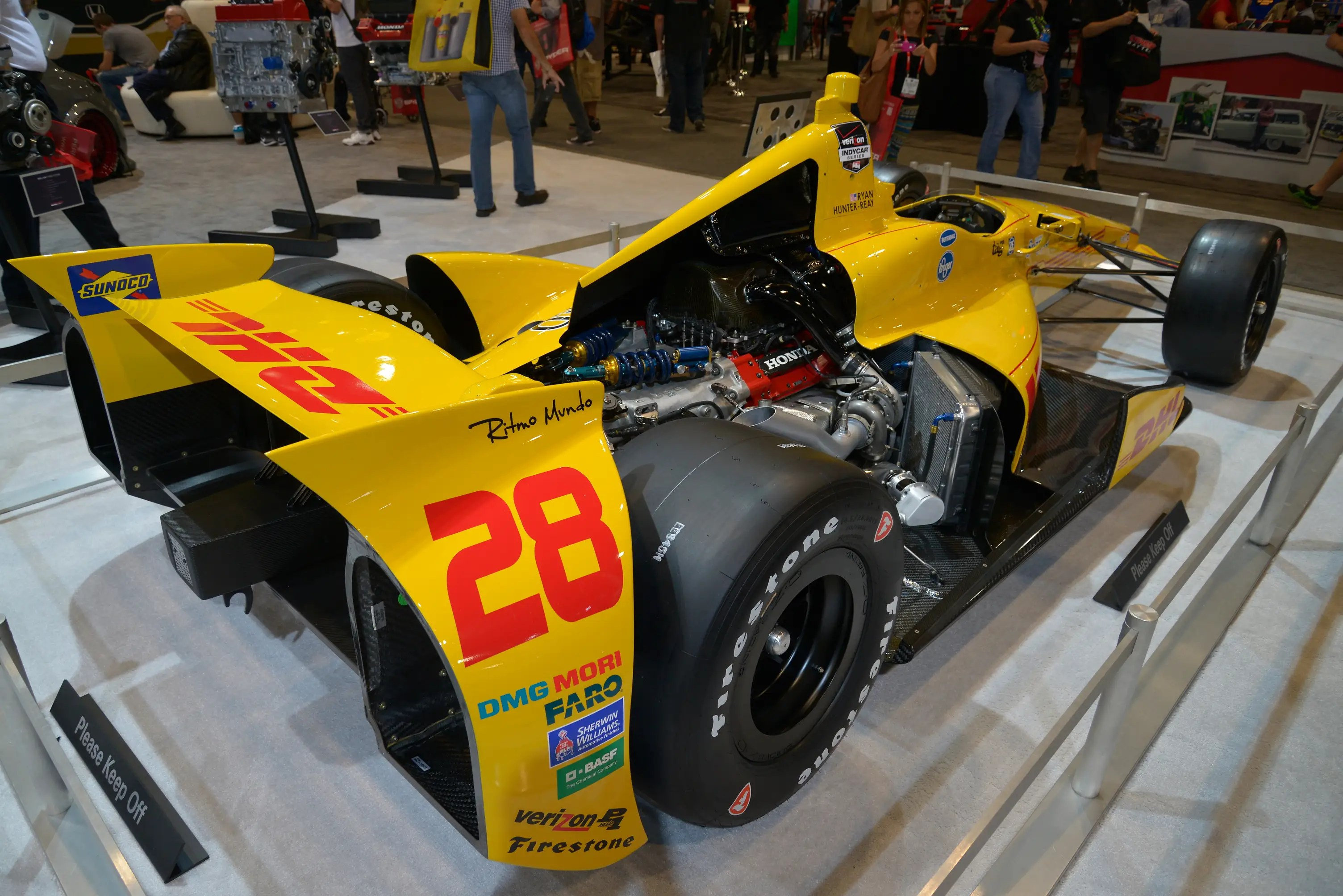 Race cars made an appearance, too. Honda showed off its Indy 500-winning race engine inside Ryan Hunter-Reay's number 28 Dallara.