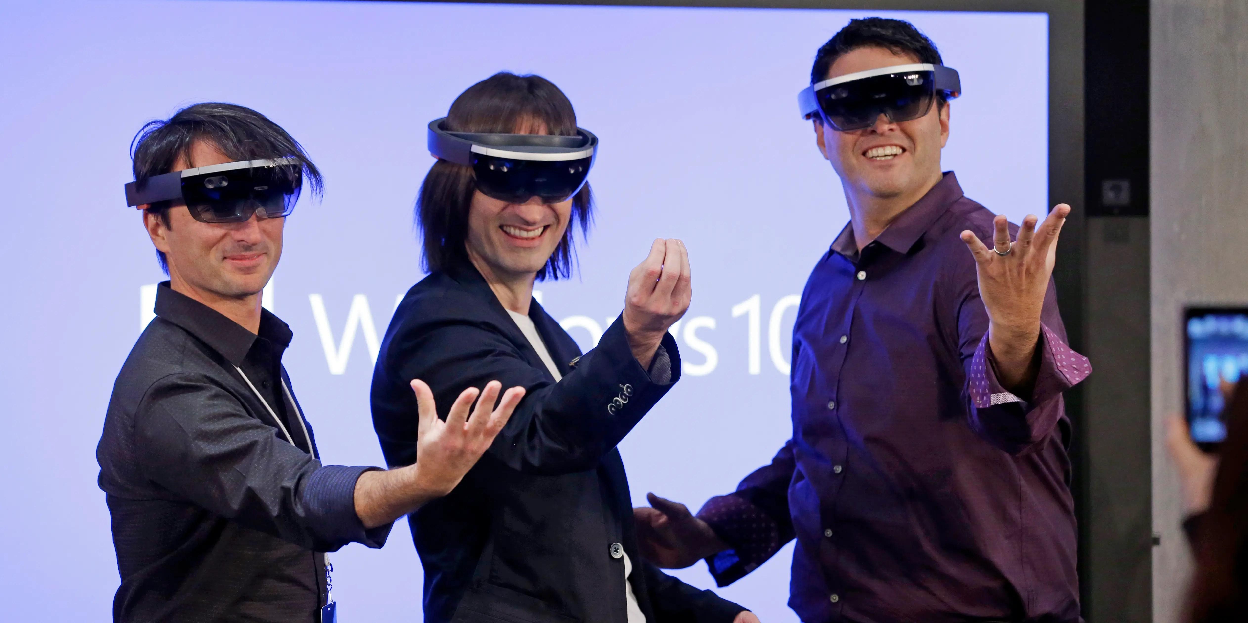 Microsoft executives testing HoloLens