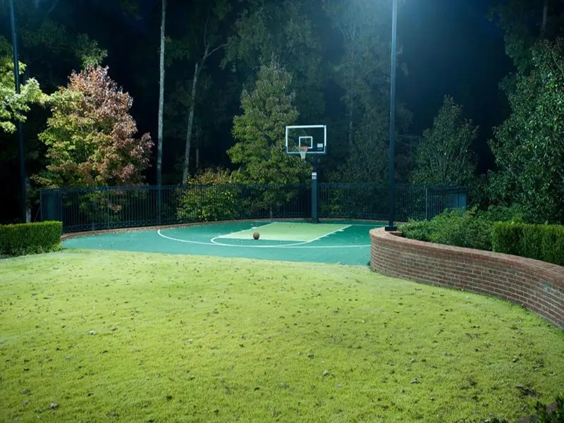 A half-size basketball court is also on the property.