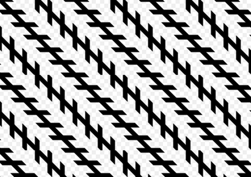 The Zöllner illusion: The long black lines appear to be crooked because the shorter black lines are at an angle to each other. In reality, however, the long black lines are parallel.