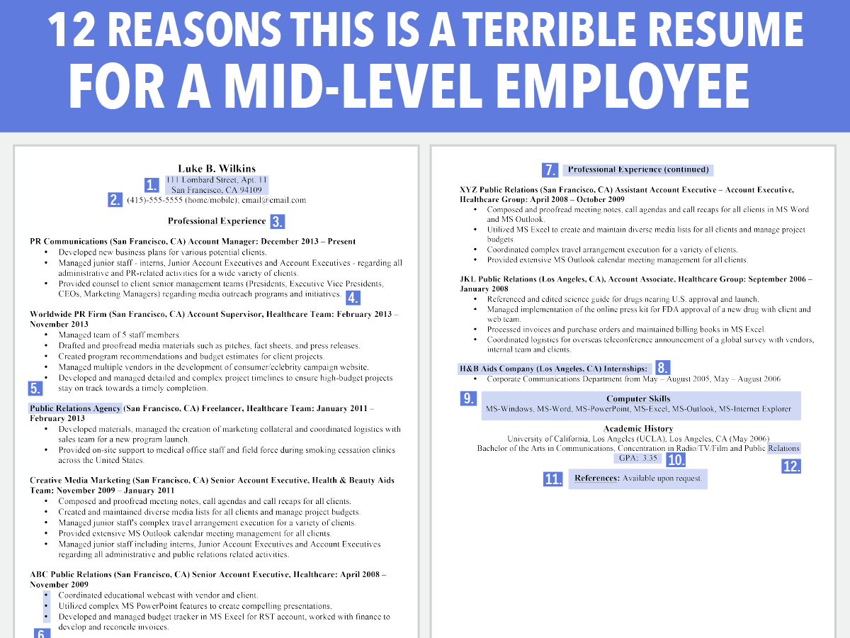 How To Write A Career Change Resume Horrible Resume For Mid Level Employee Business Insider