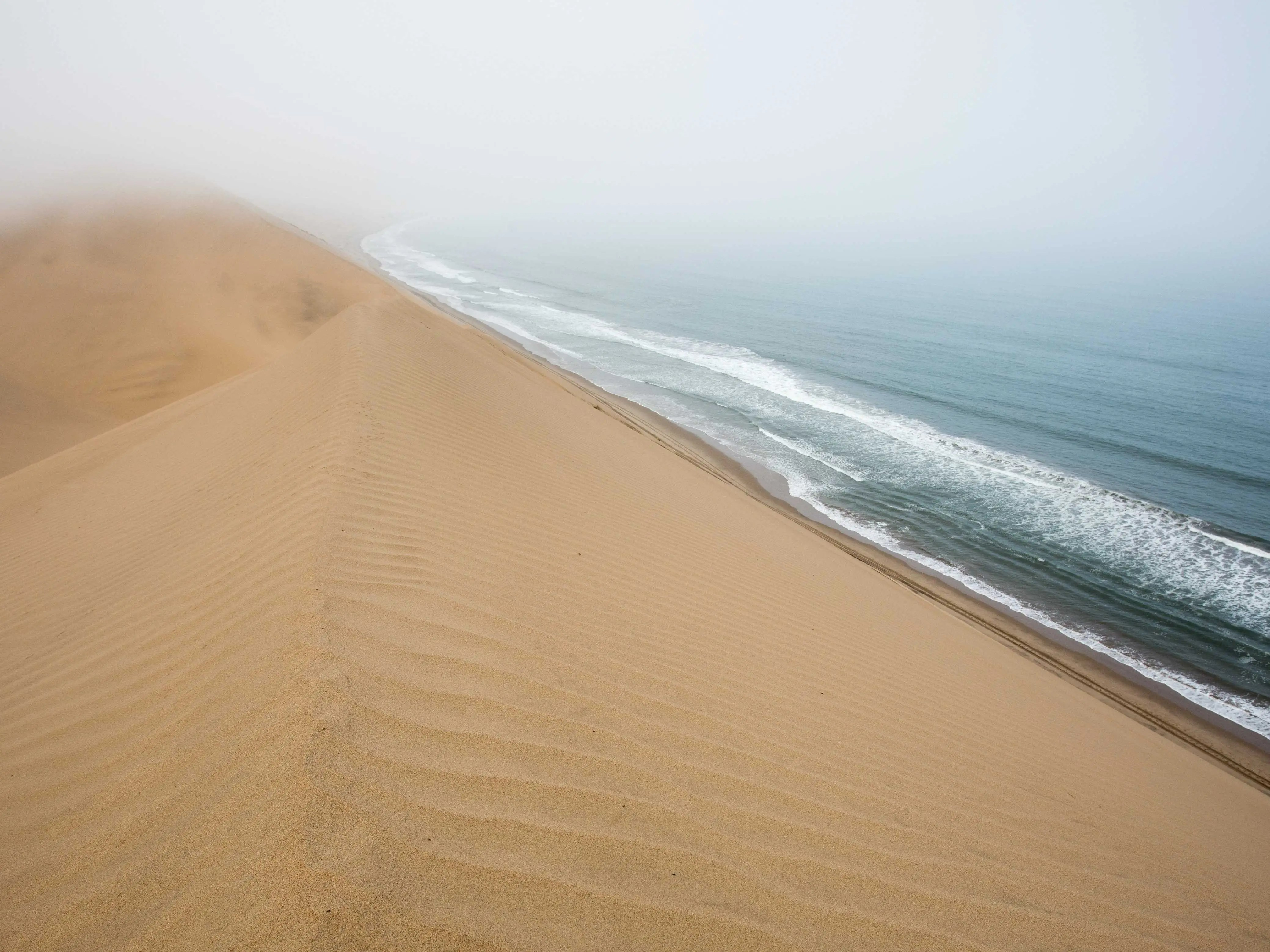The Namib Sand Sea, located in Africa on the coast of Namibia's Namid-Naukluft Park, is the only coastal desert in the world, whose dune fields often come into contact with fog and have created a unique array of wildlife that has evolved to adapt to the environment. The landscape includes everything from rocky hills to coastal lagoons.