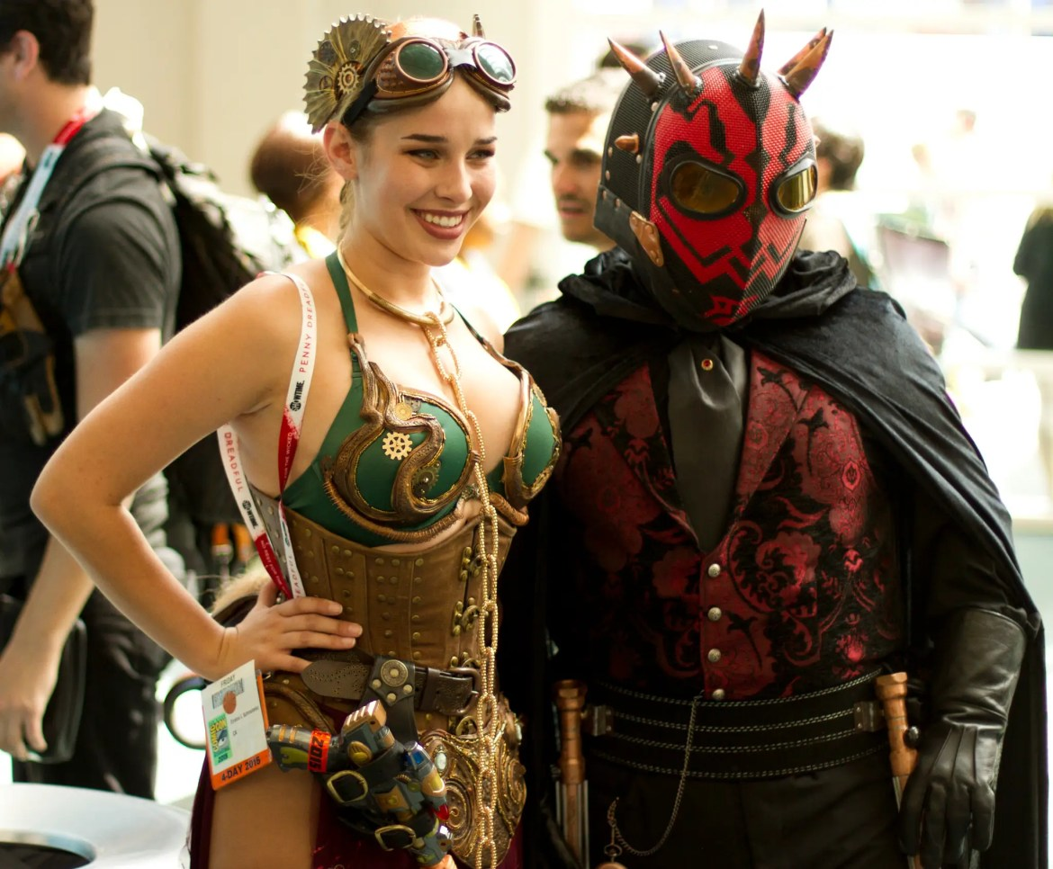 Steampunk Leia and Darth Maul buddy up for a photo.