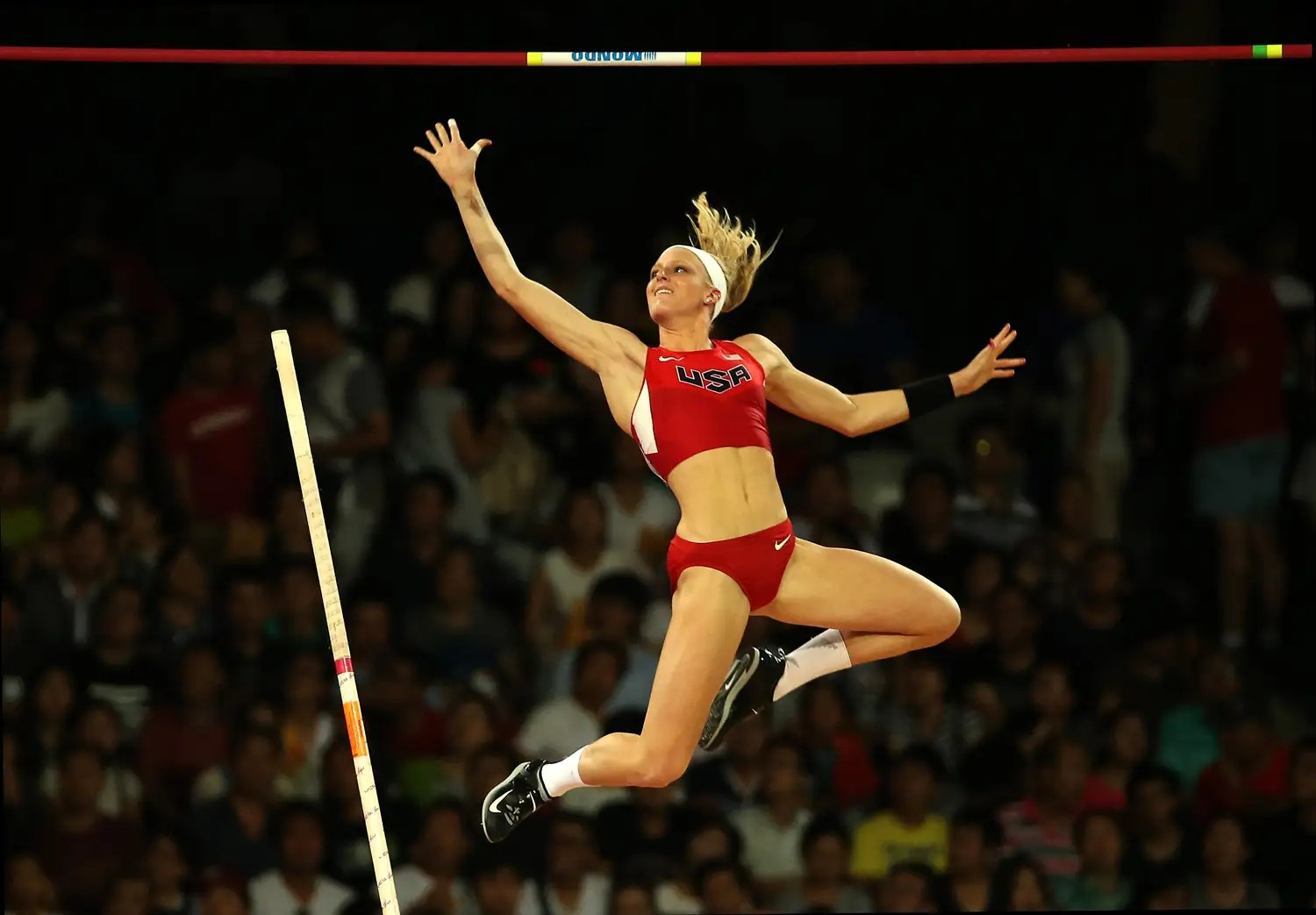 US pole vaulter Sandi Morris clears the bar.